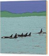 Orca Pod Wood Print