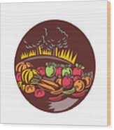 Orchard Crop Harvest Circle Woodcut Wood Print