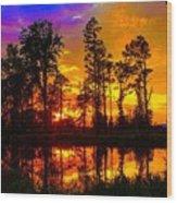 Orchard Lake Sunset Wood Print