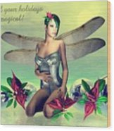 Orchid Faerie Holiday Card Wood Print