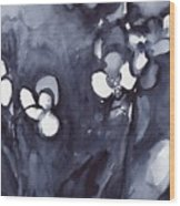Orchid In Indigo Wood Print