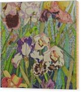 Orchids And Irises II  Wood Print