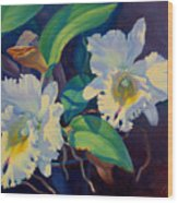Orchids In A Blue Pot Wood Print