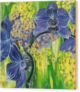 Orchids In A Gold Rain Wood Print