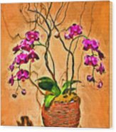 Orchids In Basket Wood Print