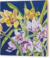 Orchids In Blue Wood Print by Lucy Arnold