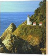 Oregan Lighthouse Wood Print