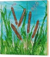 Oregon Cattails Wood Print