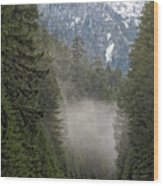 Oregon Highway Mist Wood Print
