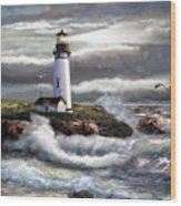 Oregon Lighthouse Beam Of Hope Wood Print