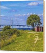 Oresund Bridge With Cabanas Wood Print