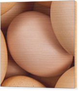 Organic Brown Eggs In Filled Frame Format Wood Print