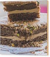 Organic Coffee And Pistachio Cake A Wood Print
