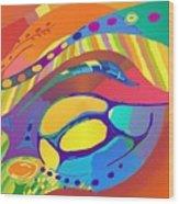 Organic Life Scan Or Cellular Light - Blue Wood Print