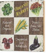 Organic Market Patch Wood Print