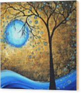 Orginal Abstract Landscape Painting Blue Fire By Madart Wood Print