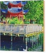 Orient Swan Pagoda Wood Print