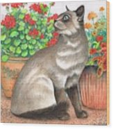 Oriental Cat Wood Print