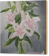 Oriental Lilies In White And Pink Wood Print