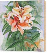 Oriental Lilies Wood Print