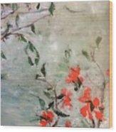Oriental Orange Flowers Wood Print