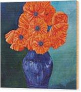Oriental Poppies In Blue Wood Print