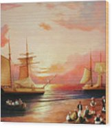 Oriental Sailor Chiefs Gathered For A Meeting On The Shores Of The Black Sea Wood Print