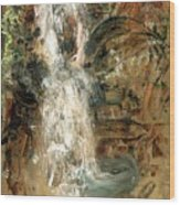 Oriental Waterfall Wood Print