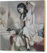 Oriental Woman At Her Toilet Wood Print