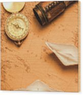 Origami Paper Boats On A Voyage Of Exploration Wood Print