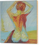 Original Abstract Oil Painting Female Nude Girl On Canvas#16-2-5-06 Wood Print
