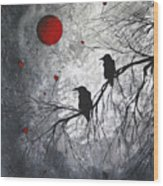 Original Abstract Surreal Raven Red Blood Moon Painting The Overseers By Madart Wood Print