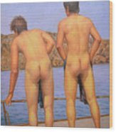 Original Oil Painting Art Male Nude Gay Interest Boy Man On Linen#16-2-5-12 Wood Print