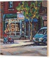 Original Art For Sale Montreal Petits Formats A Vendre Boulangerie St.viateur Bagel Paintings  Wood Print