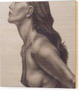 Original Charcoal Nude Female Profile Study Wood Print by Neal Luea