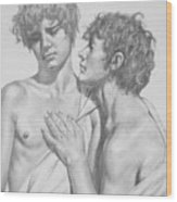 Original Drawing Charcoal Male Nude Gay Boys On Paper #16-5-25-02 Wood Print