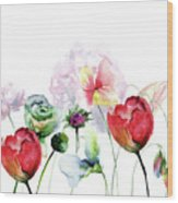 Original Floral Background With Flowers Wood Print