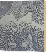 Original Linoleum Block Print Wood Print