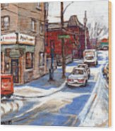 Original Montreal Paintings For Sale Tableaux De Montreal A Vendre Pointe St Charles Scenes Wood Print