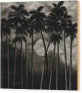 Original Moonlit Palm Trees  Wood Print