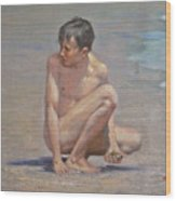 Original Oil Painting Art Male Nude Gay Boy On Linen#16-2-5-09 Wood Print