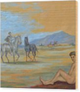 Original Oil Painting Art Male Nude With Horses On Canvas #16-2-5 Wood Print