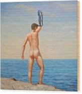 Original  Oil Painting Gay Art Male Nude By Body On Canvas#16-2-5-011 Wood Print