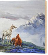 Original Oil Painting On Canvas Two Horses Wood Print