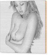 Original Pencil Drawing Beach Babe Www.olgabell.ca Wood Print