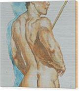 Original Watercolor Painting Art Male Nude Men On Paper #12-25-02 Wood Print
