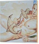 Original Watercolor Painting Artwork Sailor Male Nude Man Gay Interest On Paper #9-015 Wood Print