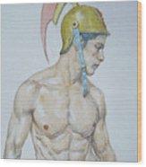 Original Watercolor Painting Male Nude Man #17511 Wood Print