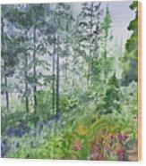 Original Watercolor - Summer Pine Forest Wood Print