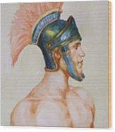 Original Watercolour Painting Art Male Nude Portrait Of General  On Paper #16-3-4-19 Wood Print